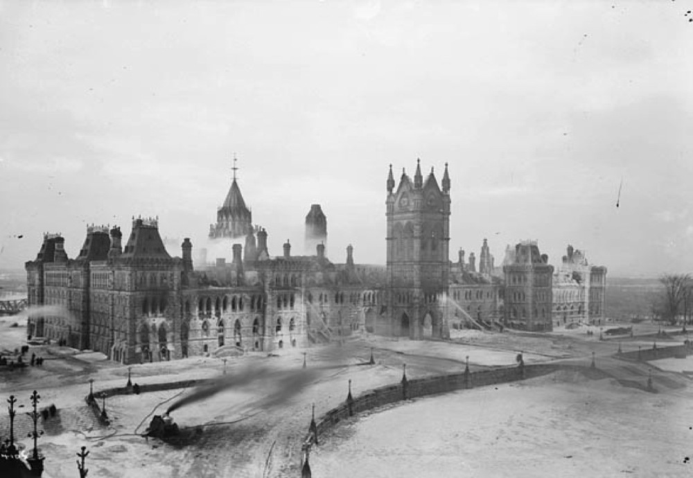 Photo Original Centre Block, a view from West Block roof day after fire